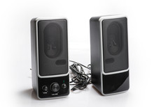 Black Two Speaker Isolated On ...