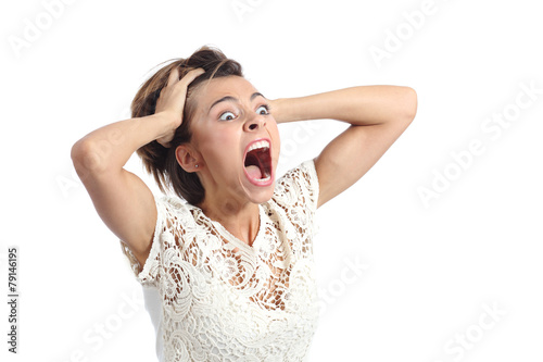 Photo  Scared crazy woman crying with hands on head