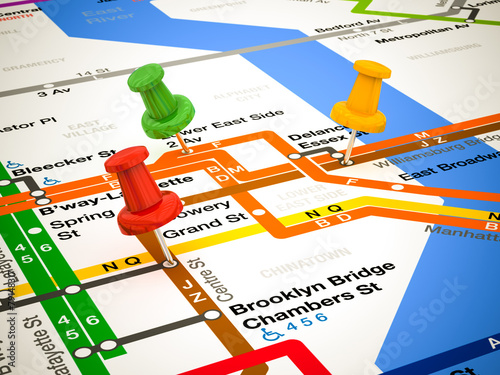 Subway Map From 14th To Chambers.3d Pins And Subway Map Buy This Stock Illustration And Explore