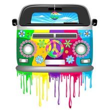 Hippie Van Dripping Rainbow Pa...