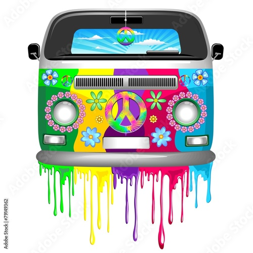 Door stickers Draw Hippie Van Dripping Rainbow Paint