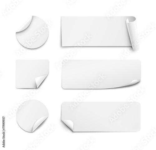 Fényképezés  White paper stickers on white background