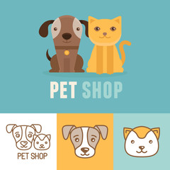 Panel Szklany Pies Vector dog and cat icons and logos