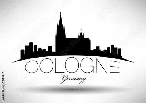 Fotografía  Cologne Skyline with Typographic Design