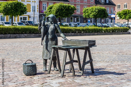 Statue Of Woman Selling Fish In Karlskrona
