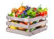 canvas print picture - Obst und Gemüse in Holzkiste