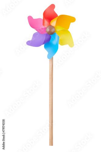 Fotografia, Obraz  Pinwheel, colorful toy on white, clipping path