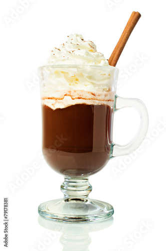 Spoed Foto op Canvas Chocolade Hot chocolate in a glass with whipped cream and cinnamon