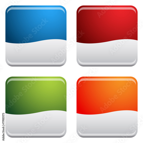 Fotografie, Obraz  Rounded Square Button Icon Set