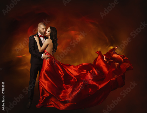 Fotografie, Obraz  Elegant Couple Dancing in Love, Man and  Woman in Red Dress