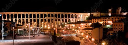 roman aqueduct in Segovia city, Spain