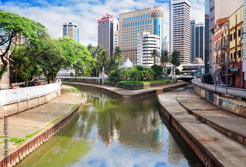 Klang(Kelang) river and Mosque Jamek among modern buildings in K
