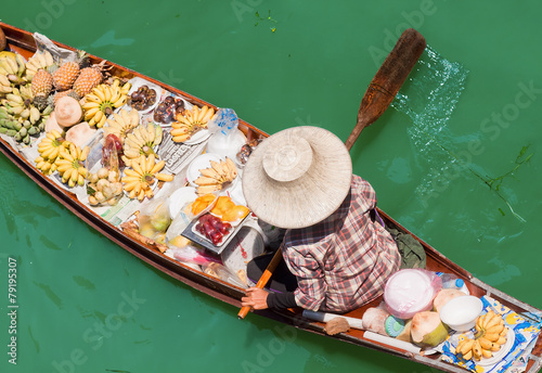Saleswomen at floating markets in Damnoen Saduak, Thailand Canvas Print