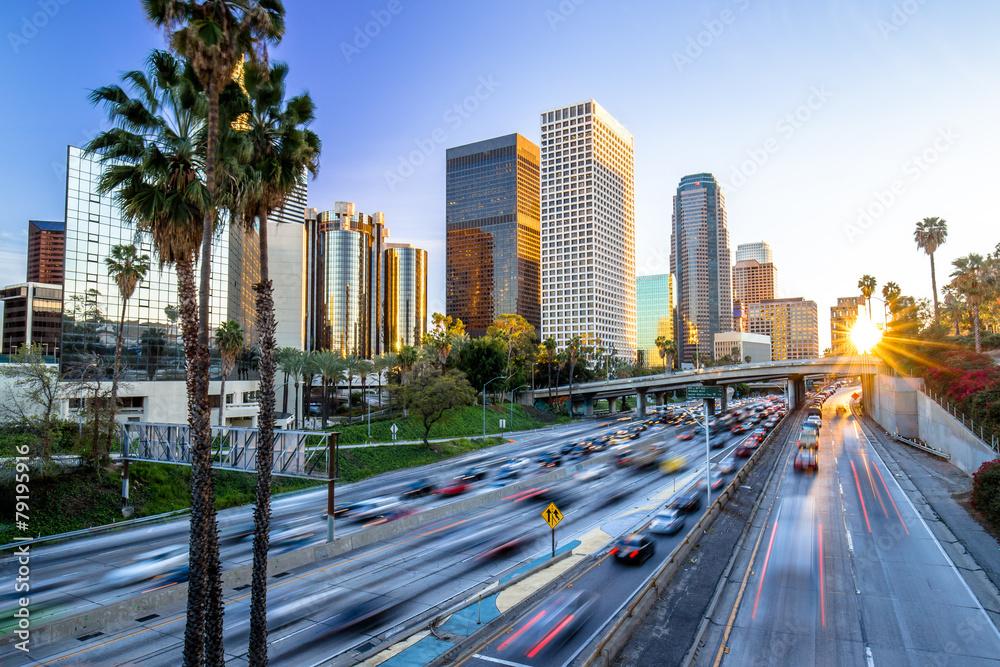Fototapeta Los Angeles downtown buildings skyline highway traffic