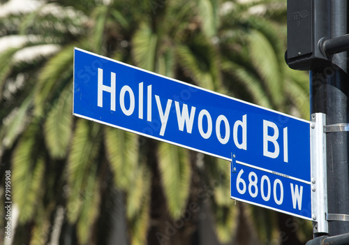 Photo  Hollywood Blvd street sign in Los Angeles