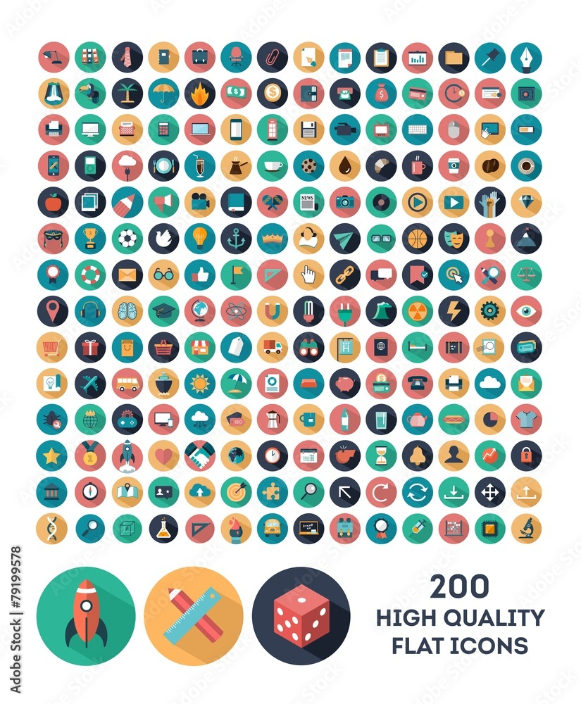 Fototapety, obrazy: set of 200 high quality vector flat icons