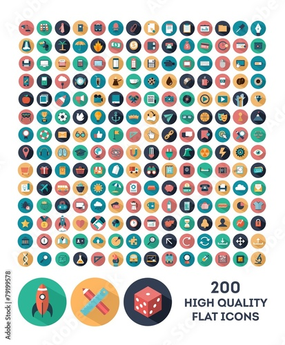 set of 200 high quality vector flat icons Wall mural