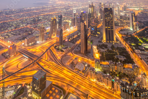 Photo  Panorama of night Dubai during sunset