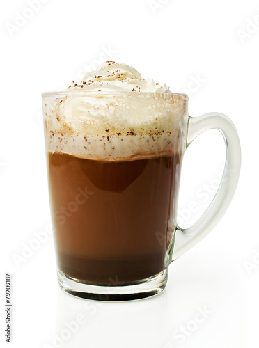 Spoed Foto op Canvas Chocolade Hot chocolate with whipped cream in a glass bowl