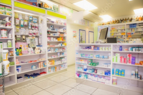 Papiers peints Pharmacie Close up of shelves of drugs