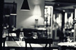 canvas print picture - glass of wine restaurant interior serving dinner