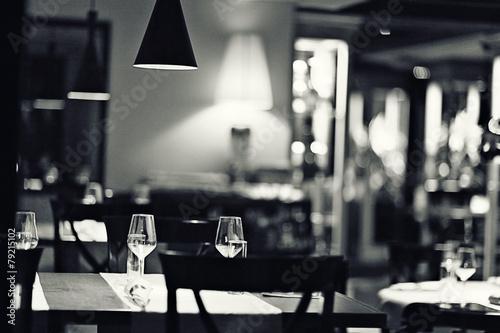 Fotobehang Restaurant glass of wine restaurant interior serving dinner