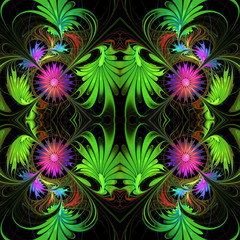 Flower pattern in fractal design. Purple and green palette. On b