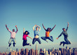 canvas print picture - Cheerful People Jumping Friendship Happiness City Concept