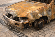 Front Of Burnt Out Abandoned Car