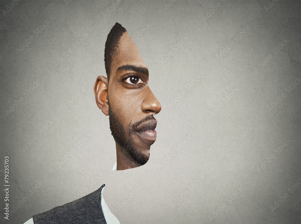Fototapeta Optical illusion portrait front with cut out profile of man