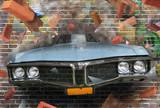 Fototapeta Młodzieżowe - Background color of street graffiti on a brick wall