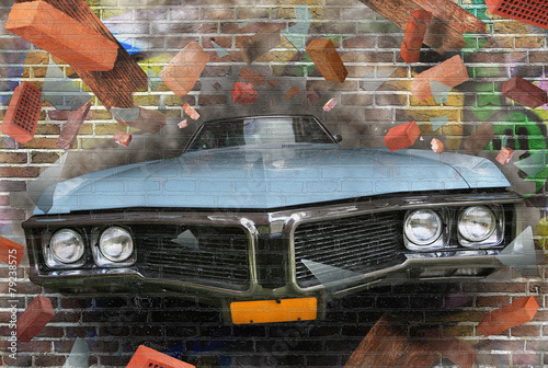Spoed Foto op Canvas Graffiti Background color of street graffiti on a brick wall