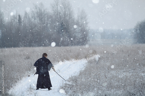 Foto  concept of the way Eastern philosophy, the monk samurai