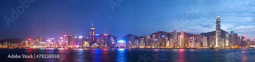 Foto auf Leinwand Hongkong High resolution panoramic view of Hong Kong at night