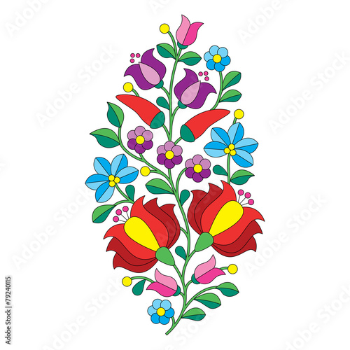 Hungarian folk pattern - Kalocsai embroidery with flowers