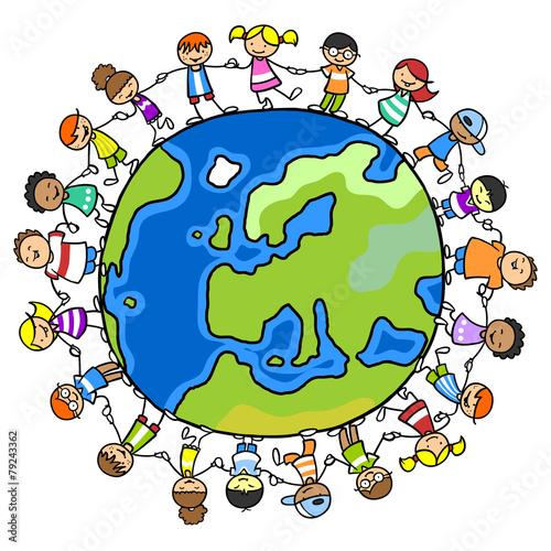 Fotografía  Kinder im Kreis auf einer Welt voll Frieden