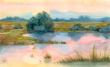 Morning Mist Over The Summer Lake