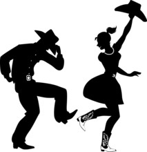 Silhouette Of A Couple Dancing Country-western