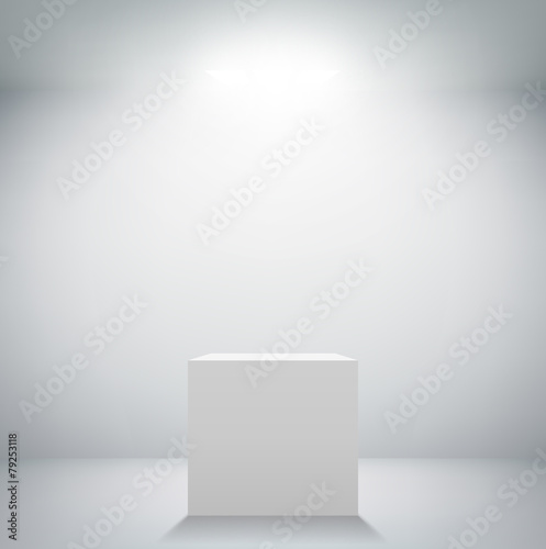empty white room with a pedestal for presentation Canvas-taulu