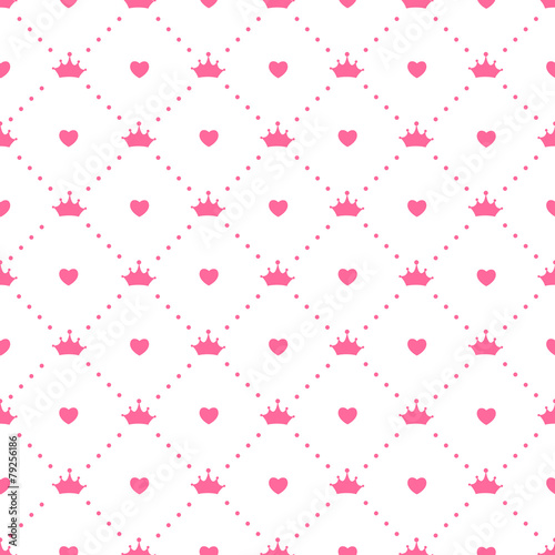 Fotografie, Obraz  Princess Seamless Pattern Background Vector Illustration