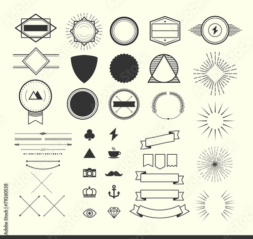 set of vintage elements for making logos, badges and labels Canvas Print