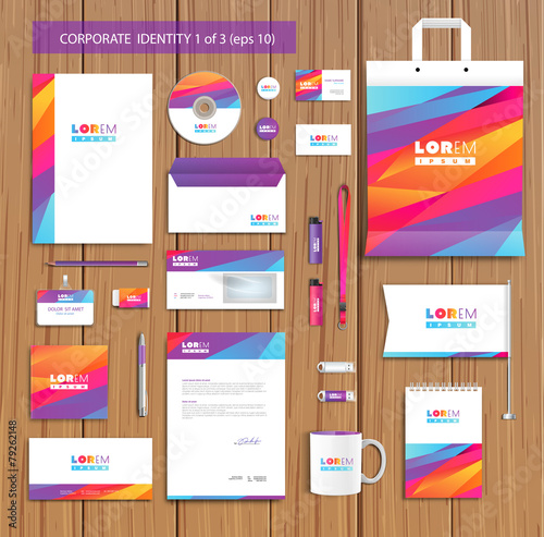 Fotografie, Obraz  Vector artistic corporate identity template with color elements
