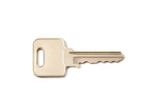 Silver Key On A White Background