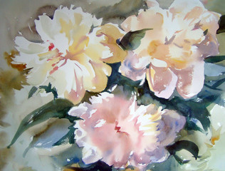 Fototapeta Do salonu Watercolor painting of the beautiful flowers