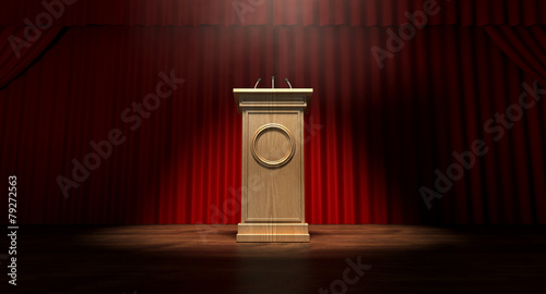 Photo Wooden Podium On Curtained Stage