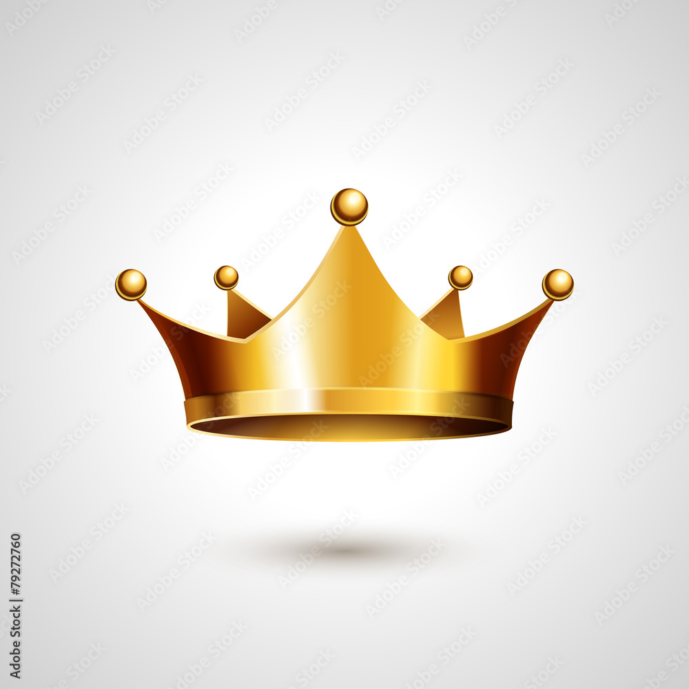 Fototapeta Gold Crown  Isolated On White Background