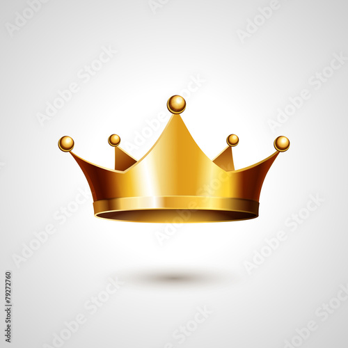 Obraz na plátně Gold Crown  Isolated On White Background