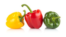 Studio Shot Of Red,yellow,green Bell Peppers Isolated On White