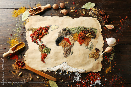 Keuken foto achterwand Wereldkaart Map of world made from different kinds of spices