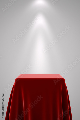 Fotografie, Obraz  Pedestal with red silk and spot light